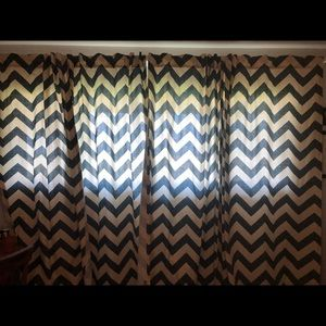 WEST ELM chevron navy blue curtains (4 in set)
